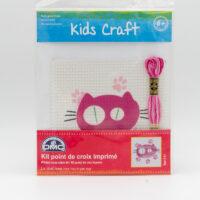 Kit point de croix imprimé chat rose