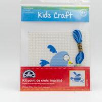 Kit point de croix imprimé oiseau bleu