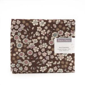 Coupon de tissu marron type Liberty «frou-frou» 45X55 cm