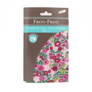 Coupon de tissu fleurs fushias «frou-frou» 45X55 cm